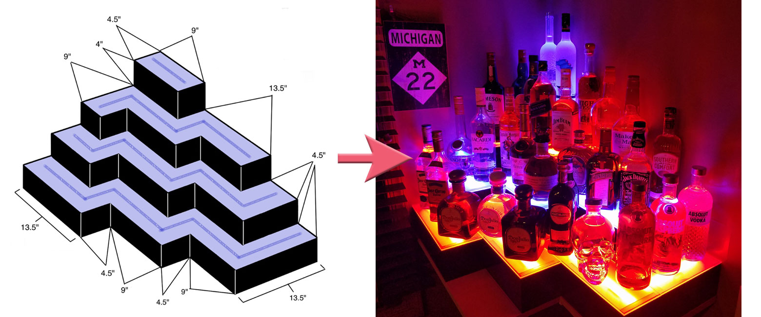 Custom LED Bar Shelves Example 1