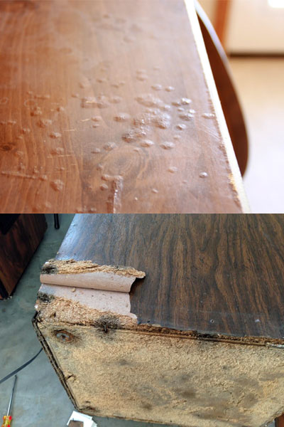 Water Damaged Laminate and Wood Particle Board